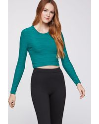 BCBGeneration Cropped Plaid Sweater - Green