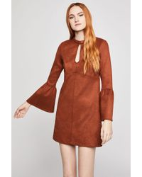 BCBGeneration - Faux Suede Flared Sleeve Dress - Lyst