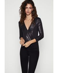 BCBGeneration Long Sleeve Surplice Bodysuit - Black