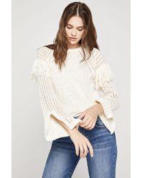 BCBGeneration - Fringe-trimmed Slit Sleeve Sweater - Lyst