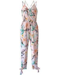BCBGeneration Floral Bow Tie Jumpsuit - Multicolour