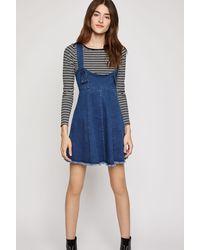 BCBGeneration Frayed Overall Denim Dress - Blue