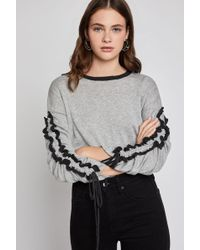BCBGeneration - Ruffle-sleeve Cropped Sweater - Lyst