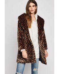 BCBGeneration - Leopard Print Faux Fur Coat - Lyst