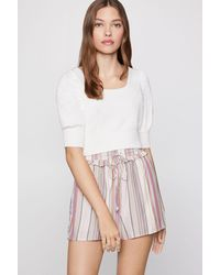 BCBGeneration Cropped Puff-sleeve Jumper - White