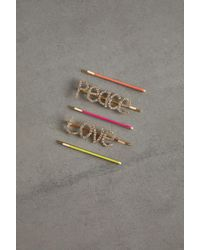 BCBGeneration Set Of 5 Peace And Love Hairpins - Metallic
