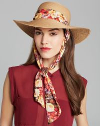 Genie by Eugenia Kim Cecily Sun Hat with Floral Scarf - Natural