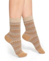 Pantherella 'floria' Fair Isle Cashmere Blend Socks - Brown