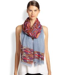 Cynthia Vincent Tulum Embroidered Panel Scarf - Blue
