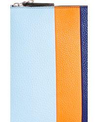Etienne Aigner - M'o Exclusive Medium Eva Stripe Pouch In Light Grey, Orange, And Navy With Grey Pom Pom - Lyst