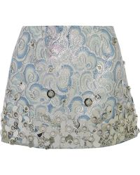 Miu Miu Embellished Metallic Jacquard Mini Skirt - Lyst