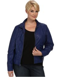 Jessica Simpson Plus Size Quilted Faux Leather Moto Jacket with Band Collar - Lyst