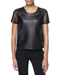 Burberry London Leather Mesh Tee - Lyst
