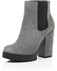 River Island Grey Leather Snake Print Ankle Boots - Lyst