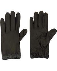 Portolano Black Rose Chain Leather Gloves black - Lyst