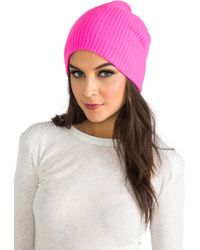 Autumn Cashmere Ribbed Bag Hat in Pink