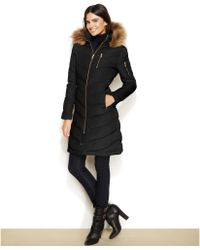 Calvin Klein Fauxfurtrimmed Hooded Down Coat - Lyst