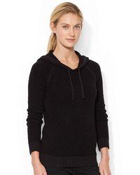 Lauren by Ralph Lauren Hooded Cotton Sweater - Lyst
