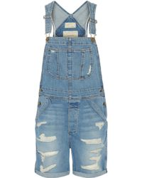 Current/Elliott The Shortall Denim Overalls - Lyst