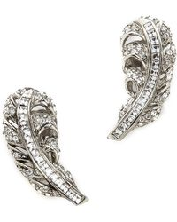 Oscar de la Renta Feather Clip On Earrings Crystalsilver - Lyst
