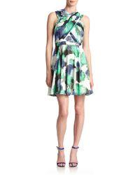 Shoshanna Randi Rose-print Chiffon Dress - Lyst
