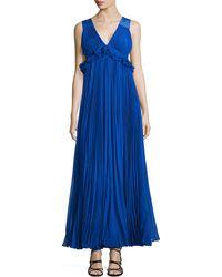 Rebecca Taylor Empire-Waist Pleated Silk-Chiffon Gown - Lyst