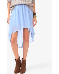 Forever 21 Pleated High-Low Chiffon Skirt - Lyst
