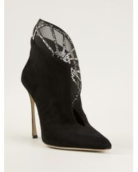 Sergio Rossi Embellished Cut Out Booties - Lyst
