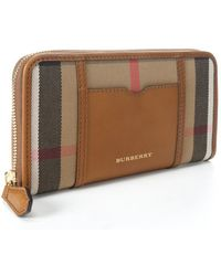 Burberry Brown Leather and Nova Check Canvas Large Ziggy Continental Wallet - Lyst