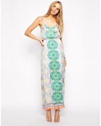 Aryn K. Deep V Printed Silk Maxi Dress - Green
