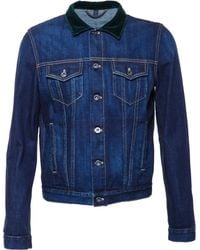 Burberry Prorsum Denim Jacket With Velvet Collar - Lyst