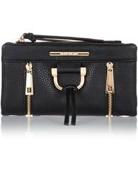 River Island Black Fold Over Purse - Lyst