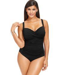 La Blanca Plus Size Ruched One-Piece Swimsuit - Lyst