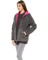 T By Alexander Wang Bonded Fleece Reversible Hooded Jacket  Rave - Lyst