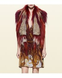 Gucci Patchwork Fur And Leather Vest With Embroidery - Lyst