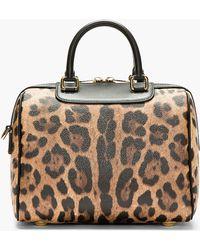 Dolce & Gabbana Brown Leather Jaguar Spot Megan Barrel Duffle