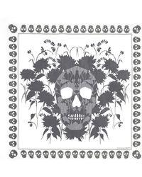 Alexander McQueen Dahlia Skull Print Silk Chiffon Scarf - Lyst