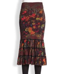 Jean Paul Gaultier Floral Tiered Mesh Midi Skirt - Lyst