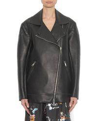 N°21 Zip-Detail Oversized Leather Jacket - Black