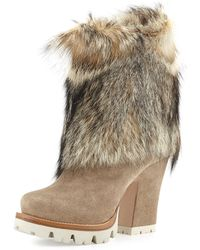 Prada Suede  Fox Fur Ankle Boots - Lyst