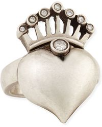Irit Design - Silver Heart & Crown Ring With Diamonds - Lyst