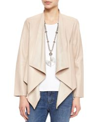 Eileen Fisher Draped-Front Leather Jacket - Lyst