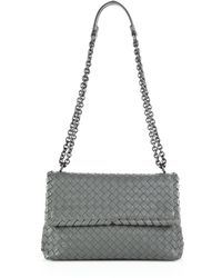 Bottega Veneta Intrecciato Small Shoulder Bag gray - Lyst