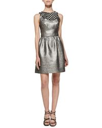 Shoshanna Priya Metallic Jacquard Dress - Lyst