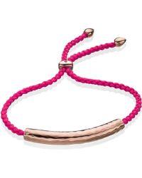Monica Vinader Havana 18ct Rose Gold-plated Friendship Bracelet - Pink