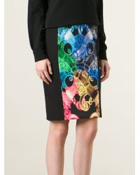 Versus  Stretch Panelled Baroque Print Skirt - Lyst