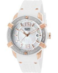 Elini Barokas - Spirit Diamond White Silicone Mop Dial Rose-tone Steel Case - Lyst