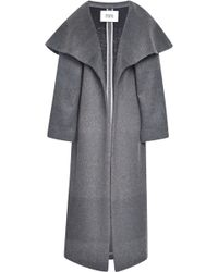 Prabal Gurung Shadow Stripe Wool Opera Coat - Gray