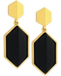 Vince Camuto - Gold Tone and Black Stone Geometric Double Drop Earrings - Lyst