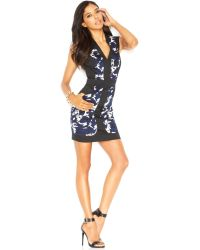 French connection Capsleeve Printblocked Dress - Lyst